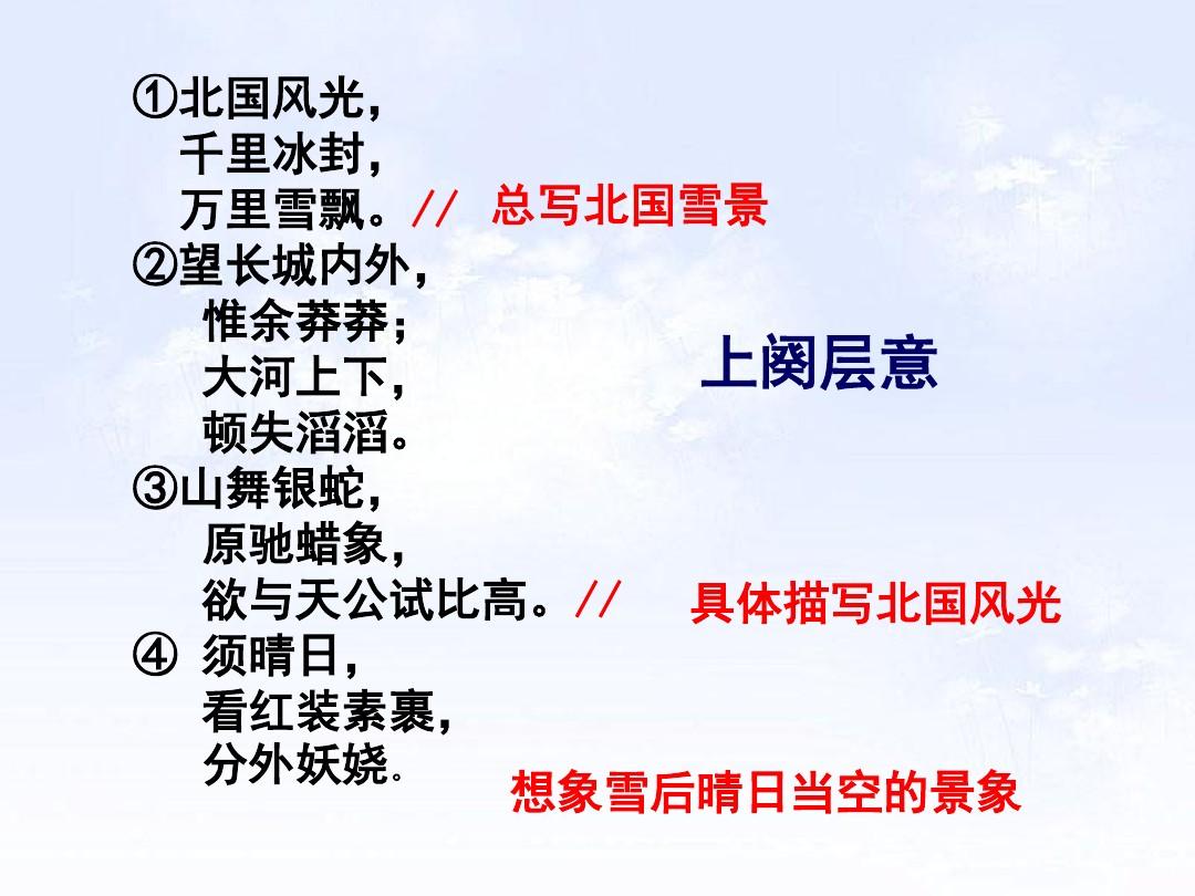 1 沁园春•雪PPT及配套教学设计方案的第11张ppt图片预览